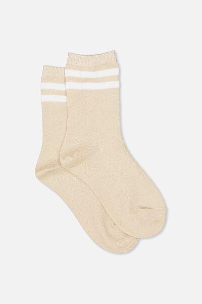 Sporty Sparkle Stripe Sock, BLUSH SPARKLE/WHITE STRIPE