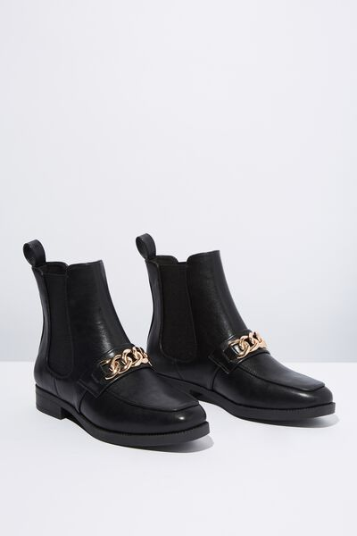 Jordy Square Toe Chain Boot, BLACK SMOOTH