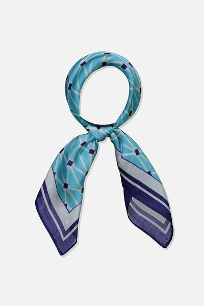 Soho Satin Scarf, AQUA ELLE DIAMOND