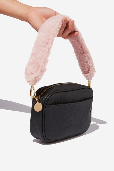 Fur Short Bag Strap, BLUSH
