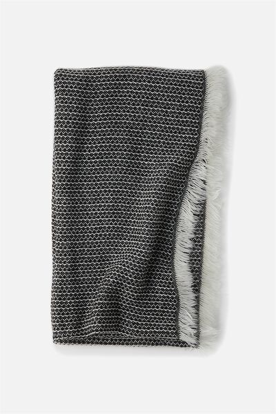 Cosy Fringe Snood, BLACK/WHITE MIX