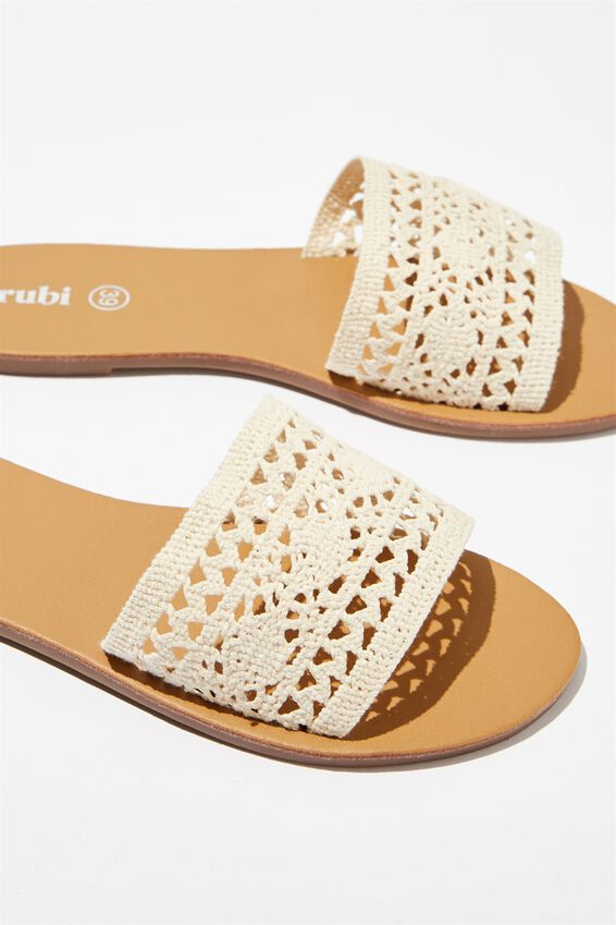Carrie Minimal Slide, WHITE CROCHET
