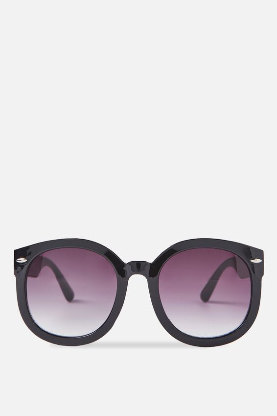 Farrah Round Sunglasses, BLACK/SMOKE