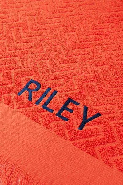 Personalised Love A Jacquard Towel, RED GEOMETRIC