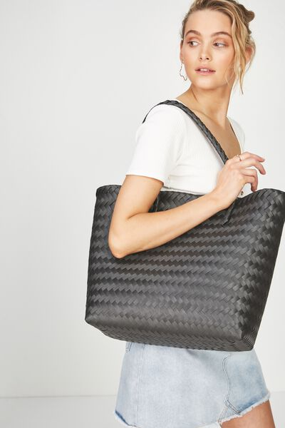Swim Woven Beach Bag, BLACK