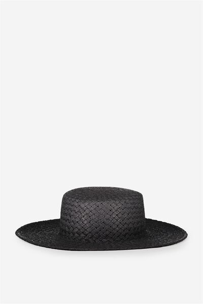 Wide Brim Boater, BLACK
