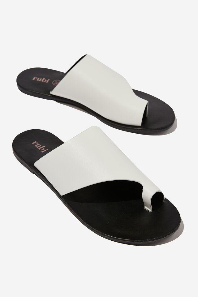 Everyday Zoe Asymmetrical Slide, WHITE SMOOTH PU