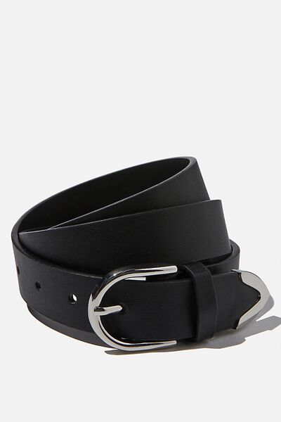 To The Point Buckle Belt, BLACK/ SILVER