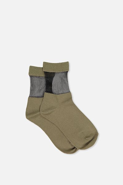 Peek-A-Boo Crew Sock, MERMAID/BLACK SHEER