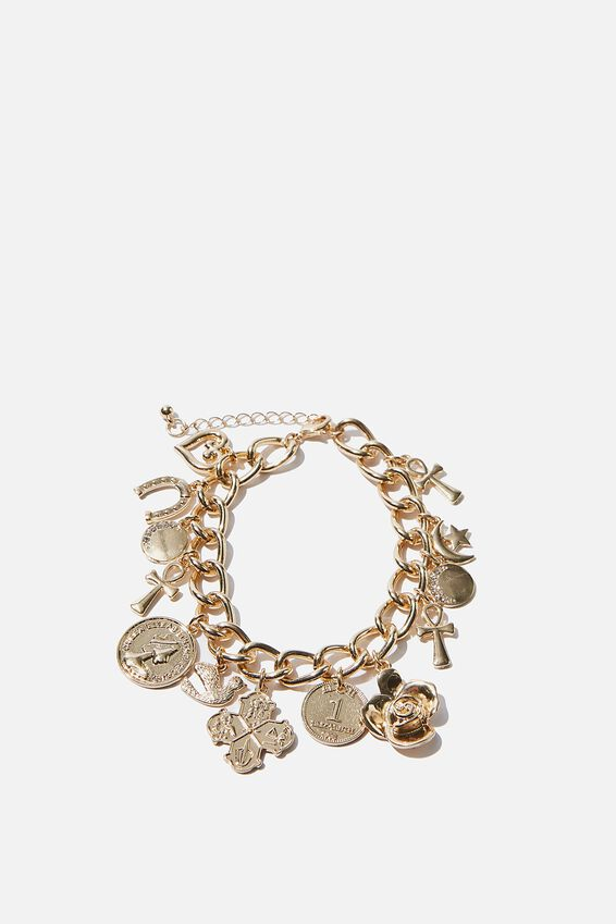 Luxe Layers Charms Bracelet, GOLD