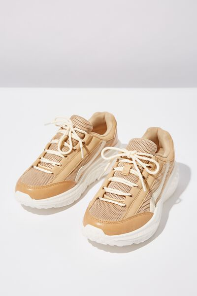 Tori Wedge Tech Sneaker, CAMEL MULTI