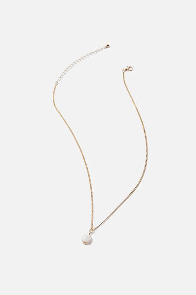 Treasures Short Pendant Necklace, GOLD FRESHWATER PEARL