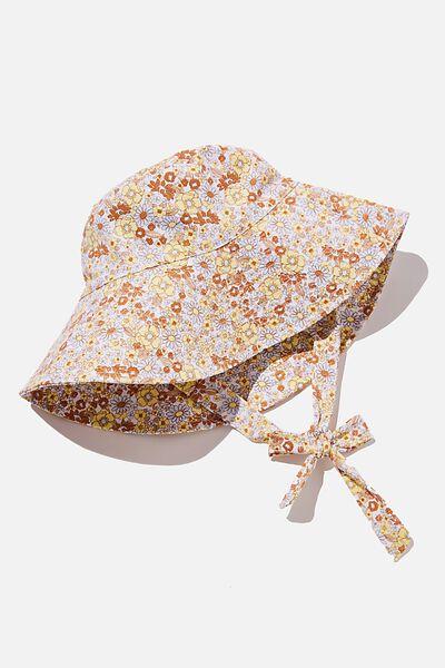 Zahra Wide Brim Sun Hat, WHITE NIKITA FLORAL