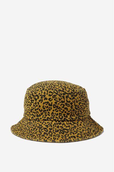 Bella Bucket Hat, MUSTARD/BLACK LEOPARD