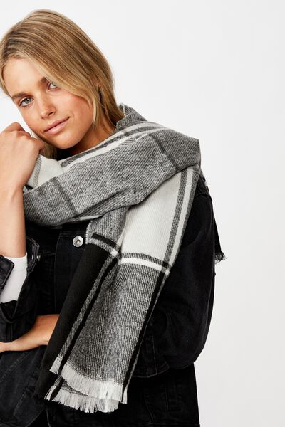 Mya Mid Weight Scarf, BLACK AND WHITE CHECK