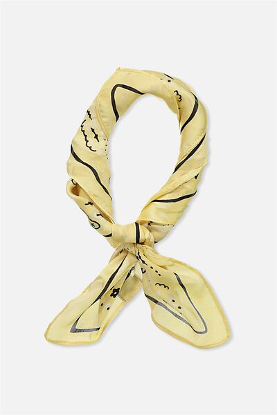 Soho Satin Scarf, LEMON BANDANA