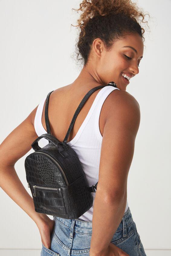 Cara Mini Backpack, BLACK CROC PRINT