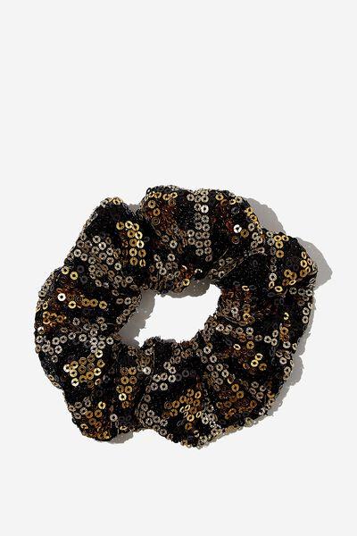 Luxe Scrunchie, GOLD LEOPARD
