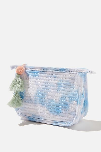 Small Quilted Pouch, BLUE TIE DYE