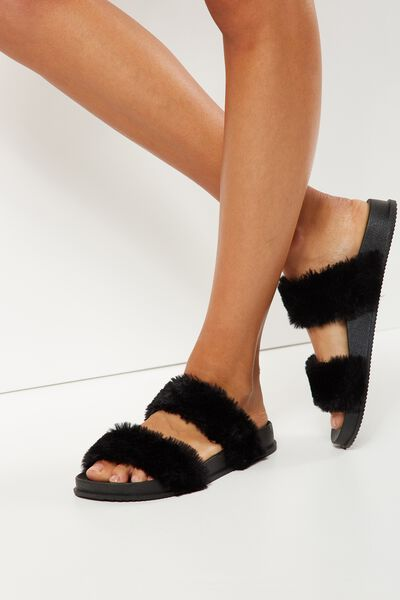 Baillie Double Strap Slide, BLACK FLUFFY