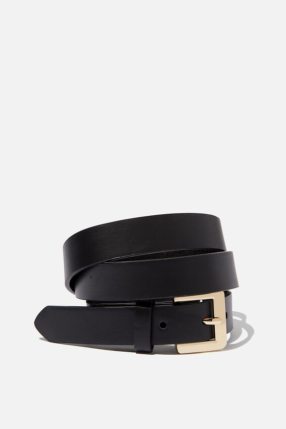 Square Buckle Belt, BLACK / GOLD