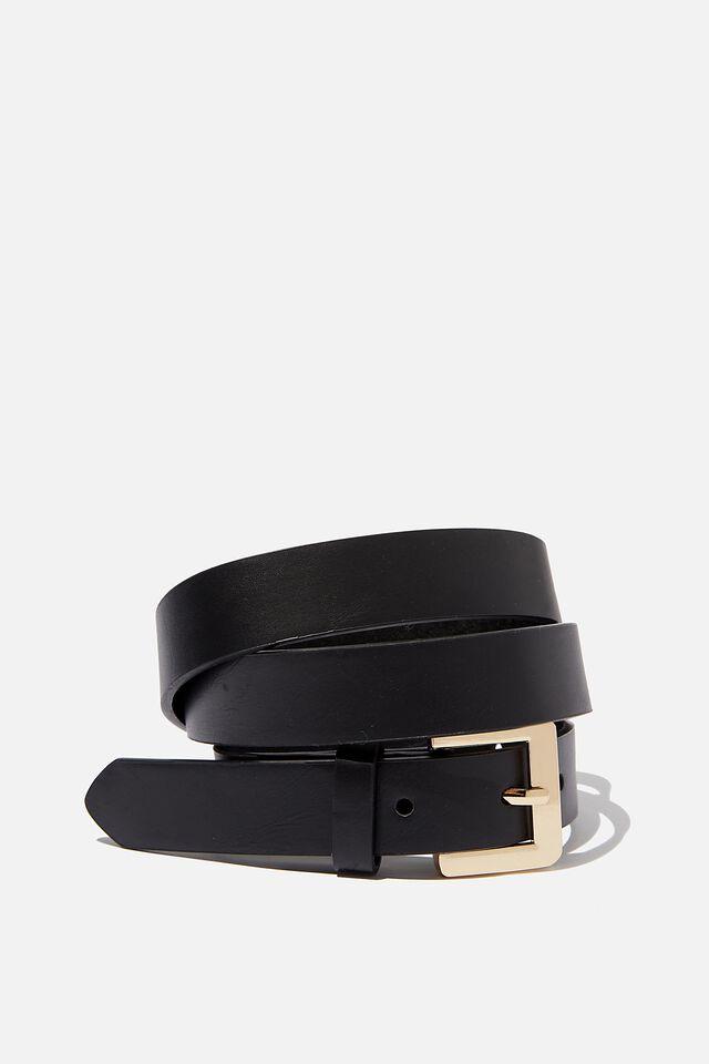 Square Buckle Belt, BLACK   GOLD