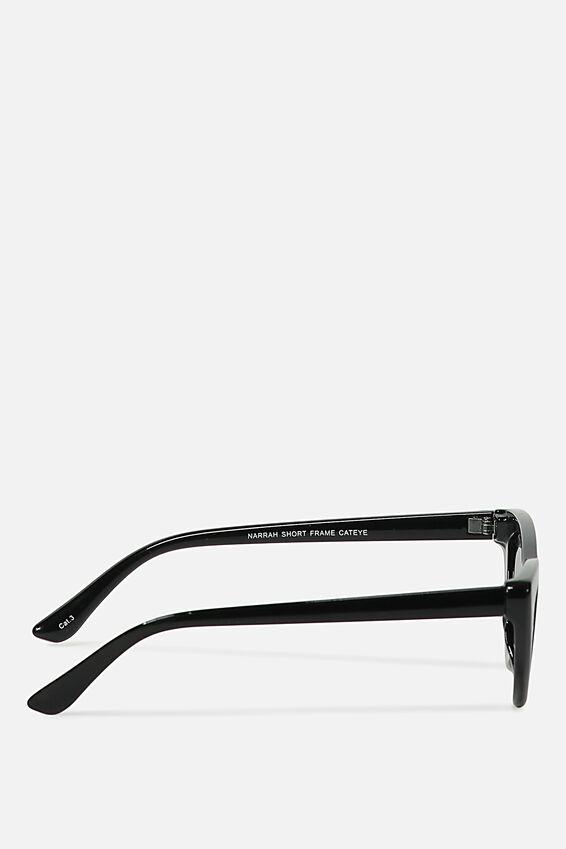 Narrah Short Frame Cateye Sunglasses, S.BLK/SMOKE