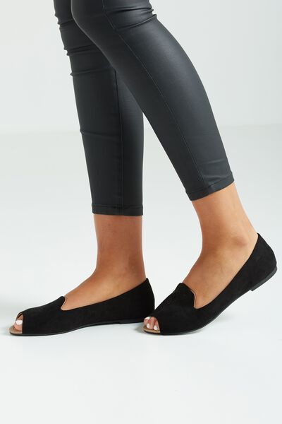 Sara Slipper Peep, BLACK MICRO