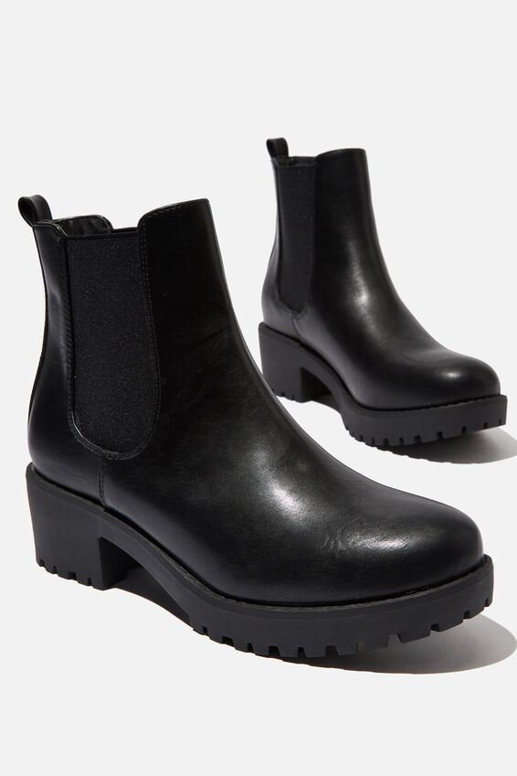 Kennedy Gusset Boot, BLACK SMOOTH