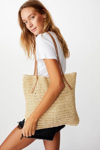 Woven Tote Bag, WHITE SAND