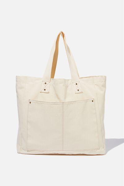 Max Washed Weekend Tote Bag, NATURAL