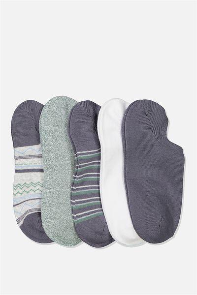 5Pk Sports Low Cut Sock, GRISAILLE CHEVRON MULTI