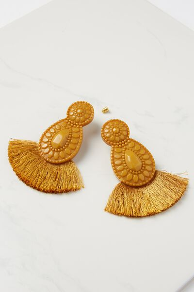 Baboshka Fan Tassel Statement Earring, MUSTARD