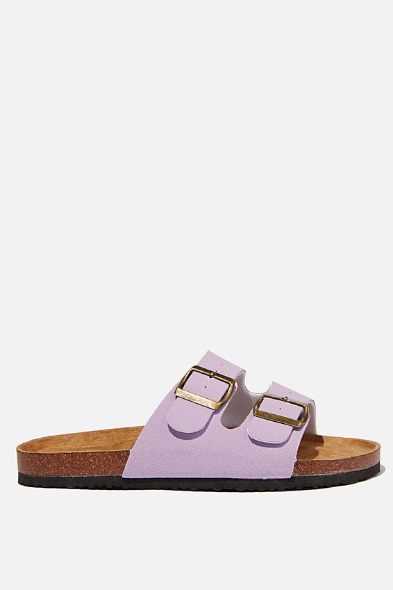 Rex Double Buckle Slide, LILAC ROUGH MICRO