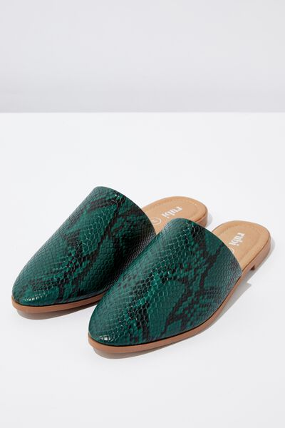 Charlotte Soft Mule, GREEN NATURAL PRINT