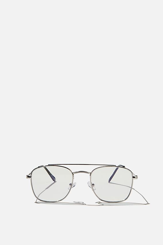 Retro Mid Blue Light Blocking Glasses, SILVER