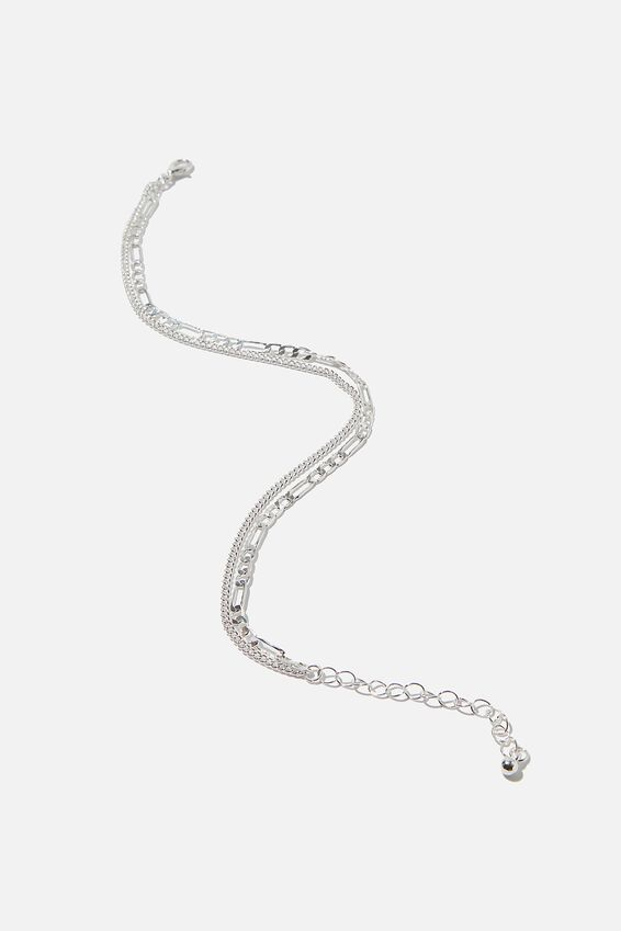 Carrie Chain Anklet, SILVER FINE