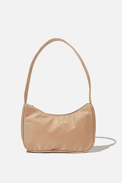 Personalised Nadia Underarm Bag, LATTE