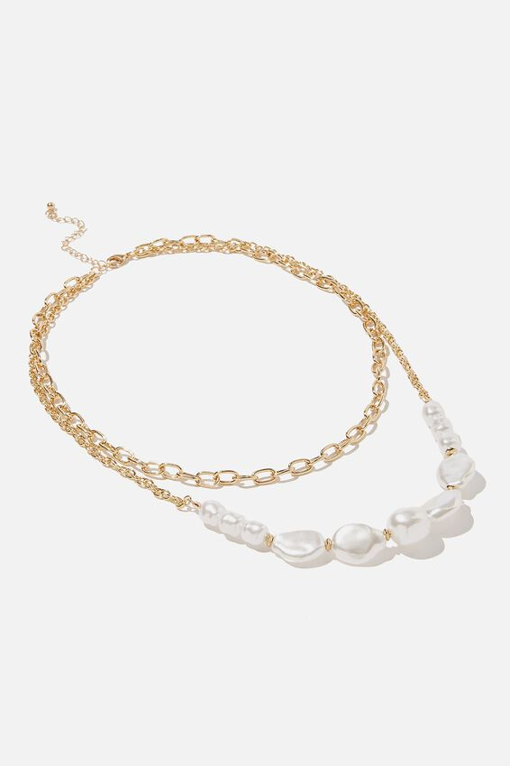 Luxe Layers Statement Pearl Layered Necklace, GOLD