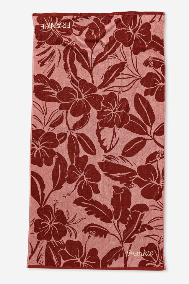 Personalised Bondi Rectangle Towel, PEACH MELON RETRO TROPICAL