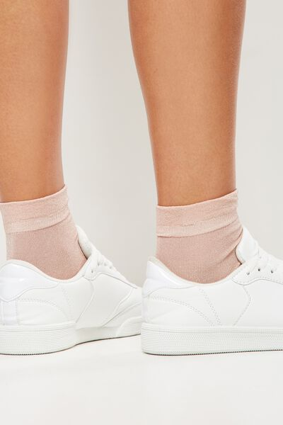 Toto Frill Sparkle Sock, BLUSH METALLIC