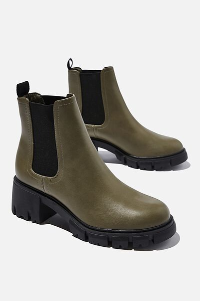 Kaia Combat Gusset Boot, OLIVE GREEN SMOOTH