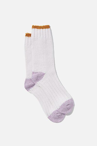 Colour Block Cosy Sock, SOFT MAUVE/ECRU