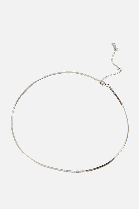 Premium Single Chain Necklace, STERLING SILVER PLATED FINE HERRINGBONE