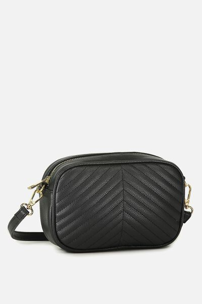 Cameron Cross Body Bag, BLACK QUILTED