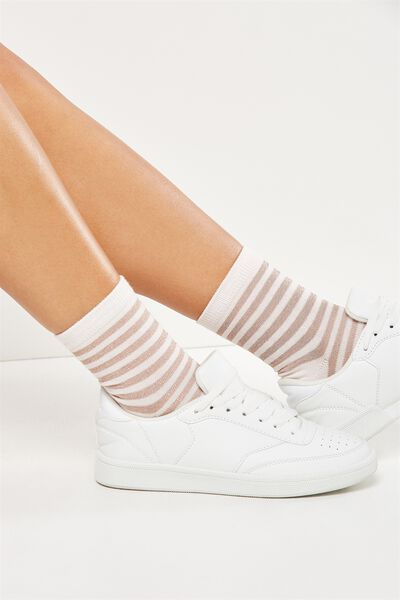 Stripe Delight Crew Sock, BLUSH/ROSE GOLD