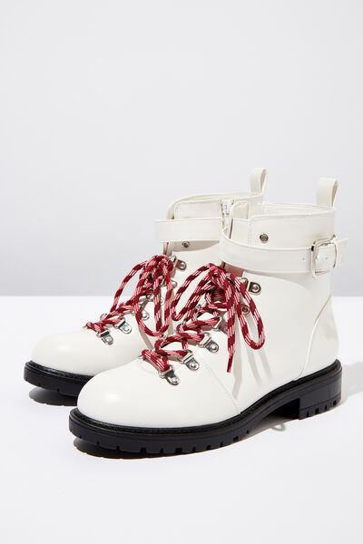 Hariette Lace Up Boot, WHITE SMOOTH