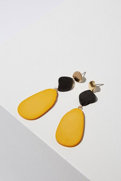Leon Earring, MUSTARD/BLACK WOOD