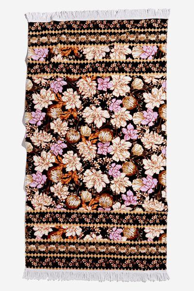 Bondi Rectangle Towel, BLACK SHELL FLORAL