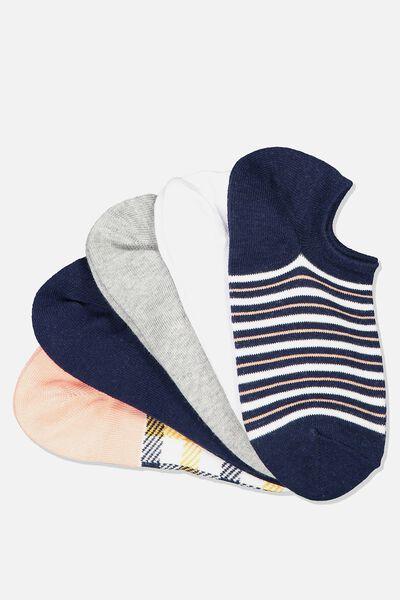 5Pk Sports Low Cut Sock, PINK JOSIE CHECK
